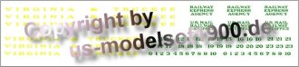 Decal set V&T with numbers for all pass. cars - not McKeen motor car  #22, caboose #24