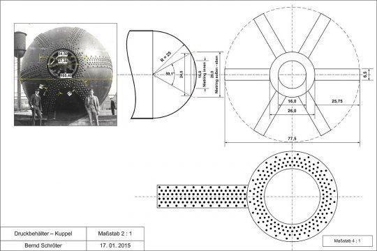 Aufriss der Nietanordnung an den Kuppeln - eine Arbeit, die wohl keinesfalls einfach werden wird!
