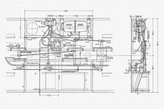 Und damit man das Modell von unten und die Zeichnung besser vergleichen kann, ist hier die Zeichnung auf den Kopf gestellt. Courtesy of Norfolk & Western Historical Society
