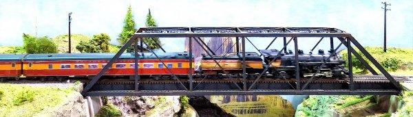 Diese schöne Lok unterwegs mit ''ihrem'' Zug, dem Sacramento Daylight, während ihres Einsatzes auf einer großen Ausstellungsanlage in Dresden, im Februar 2016.