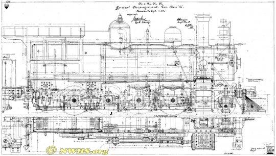 Was ich unbedingt zeigen wollte - diese Zeichnung der Norfolk & Western class G, dem Vorgänger der G1 und nahezu identisch zu dieser. (NWHS collection)
