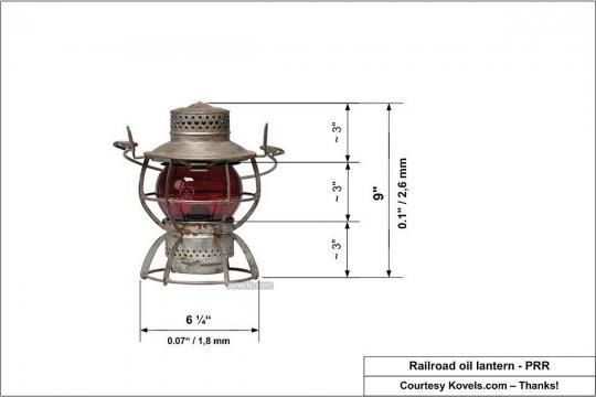 Das Bild einer Petroleumlampe, das gut als Vorbild für meine Versuche einzusetzen war. Ein paar Maße dazu, natürlich auch vom Vorbild - und los geht's! Courtesy Kovels.com, thanks!