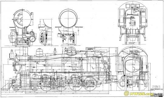 Eine Maßskizze der class M der N&W, die noch aus der Konstruktionsphase von 1905 stammt. Interessant ist da, dass die Räder der Treibachse (die zweite der angetriebenen Achsen) ohne Spurkranz zeigt. Copyright NWHS.org