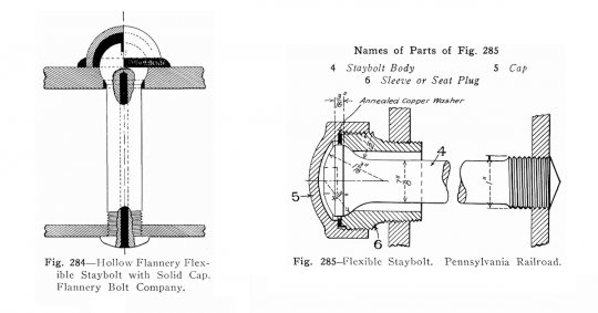 Eine kleine Exkursion zur Technologie der Dampfloks - Stehbolzen, hier zwei Beispiele beweglicher Stehbolzen. Beide Arten sind auf der Stehkesselrückwand der G1 zu finden!