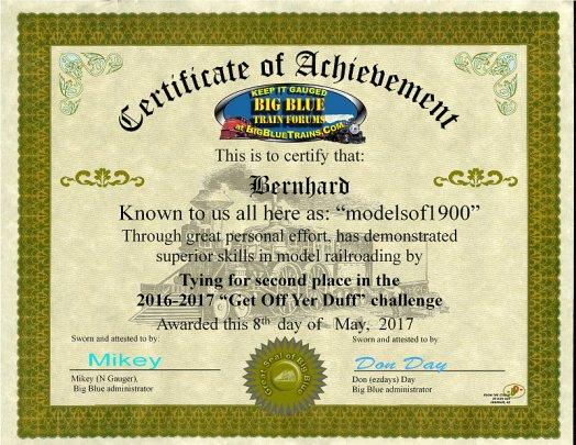 Mein Teilnahme-Zertifikat bei einem Wettbewerb des US-Forums ''Big Blue'', wo ich mit dieser Modell für die Bearbeitung und Detaillierung einen zweiten Platz erreichte.