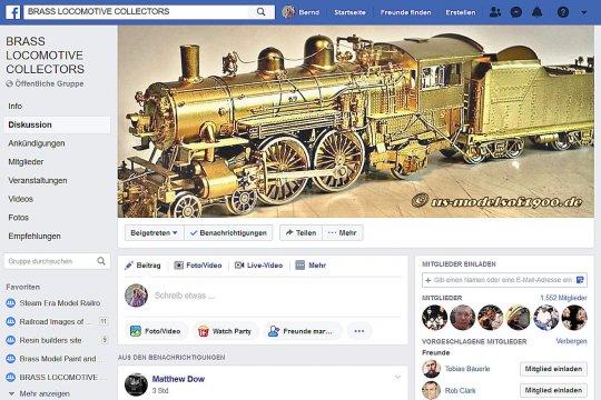Mein Modell als Titelbild der Facebook-Gruppe ''Brass Locomotive Collectors'', wenigstens für eine Weile. Ich war sehr überrascht, das Bild meines Modells da wiederzufinden, hatte mich doch niemand gefragt oder informiert.