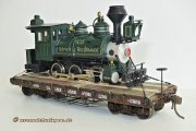 Maybe the most interesting load, a narrow gauge steam loco model which has to be transported from the errecting plant to the receiver.