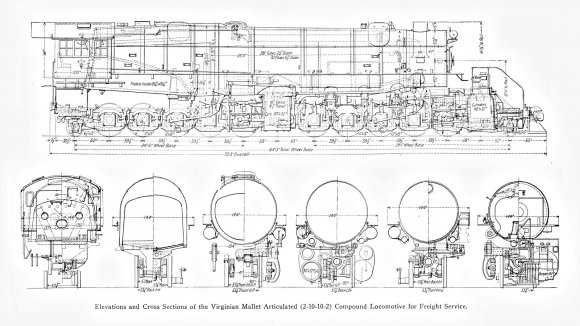 Bevor es an die Arbeit geht noch eine richtige technische Dokumentation, diese Lokomotive als Zeichnung mit vielen Details und Abmessungen<br>Quelle: Simmons-Boardman Publishing Co. Locomotive Cyclopedia, seventh edition 1922 – nutzbar als Public Domain
