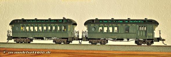 Mit Farbe und Beschriftung sehen die Modelle dann gleich noch einmal ganz anders aus, auch wenn die Burlington RR. solche Wagen wohl nie in ihrem Bestand hatte. Aber ich habe dazu die entsprechende Lok!