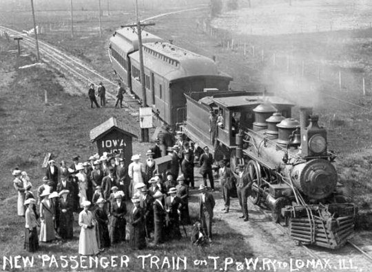 Dieses Bild gehört zu meiner Idee hinzu - ein Personenzug der Toledo, Peoria and Western Railway, eine Anregung einen kleinen Personenzug zu bauen, der dann auch absolut in meine Zeit um 1900 passt!