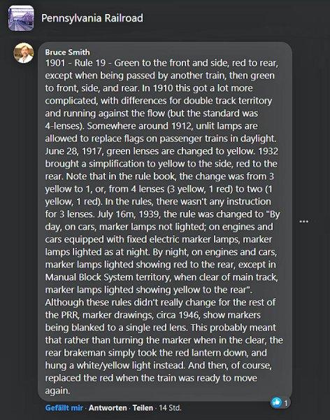 Eine sehr informative Antwort auf meine Frage in einer Dikussionsgruppe auf Facebook, wie die Zugschlusslaternen bei der Pennsy zu gestalten seien.