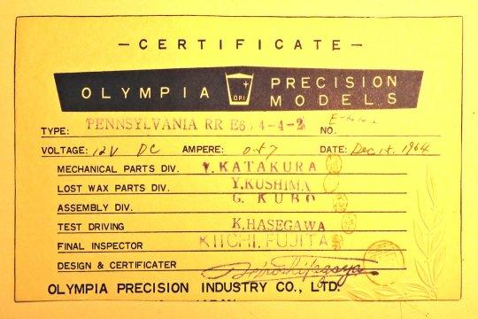 Schließlich auch noch das Zertifikat des Herstellers Olympia in Japan.