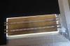 So sieht die Lochplatine auf dem Lichttisch aus, wobei die zu große Fläche einfach abgedunkelt wird. Sie würde ansonsten ganz schön blenden.